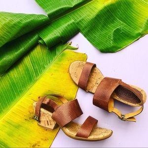 KORKS by Kork Ease leather heel wedge strap size 6